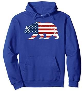 American Flag Patriotic Walking Bear Distressed Hoodie
