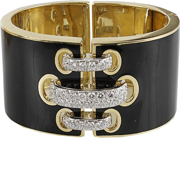 David Webb Black Enamel Bracelet with Diamond Shoe Lace Detail