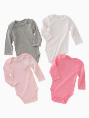 Calvin Klein baby girls 4-pack logo long sleeve onesies