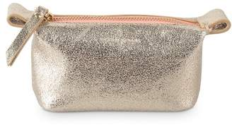 Oliver Bonas Zoya Slouch Gold Leather Make Up Bag Mini
