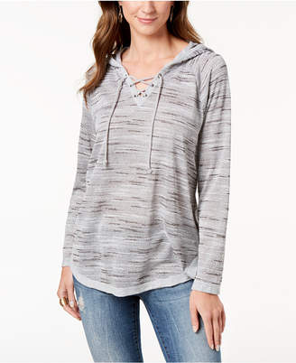 Style&Co. Style & Co Lace-Up Hooded Sweatshirt, Created for Macy's