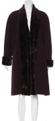 Louis Feraud Mink-Trimmed Wool Coat