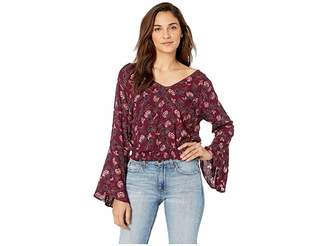 Angie Floral Long Sleeve Top with Smocked Waist Women's Clothing