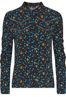 Maje Catila Floral-Print Crepe Shirt