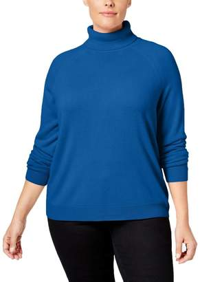 Karen Scott Womens Plus Knit Ribbed Turtleneck Sweater Blue 3X