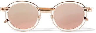 Thierry Lasry Probably Round-frame Gold-tone Sunglasses - Pink