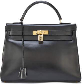 Hermes Vintage Box Kelly Leather Satchel Bag, Black