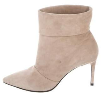 Saint Laurent Suede Pointed-Toe Ankle Boots Tan Suede Pointed-Toe Ankle Boots