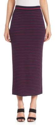 Tanya Taylor Striped Rib-Knit Midi Skirt