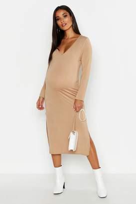 boohoo Maternity Plunge Side Split Midi Dress