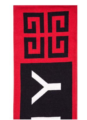 Givenchy 4g Knit Scarf In Black And Red