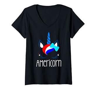 Womens AMERICORN Unicorn Funny July 4th Fireworks Cute Kids Girls V-Neck T-Shirt
