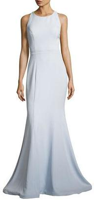 Jovani Sleeveless Stretch Crepe Cross-Back Mermaid Gown, Blue $560 thestylecure.com
