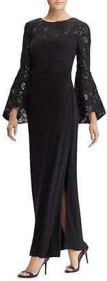 Lauren Ralph Lauren Embroidered Bell-Sleeve Gown