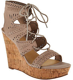 Marc Fisher Perforated Suede Lace-up Wedges -Hosana