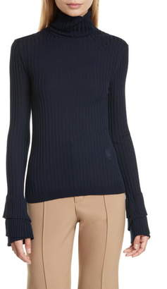 Chloé Ruffle Cuff Ribbed Merino Wool Turtleneck Sweater