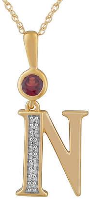 N. FINE JEWELRY Womens Genuine Red Garnet 14K Gold Over Silver Pendant Necklace