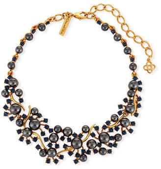 Oscar de la Renta Scattered Pearly Bead & Crystal Collar Necklace