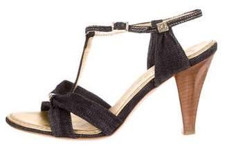 Chanel Denim T-Strap Sandals