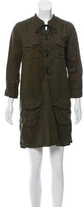 The Kooples Cargo Leather-Accented Dress