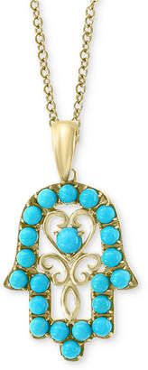 "Effy Manufactured Turquoise (1-3/4mm & 2-1/2mm) Hamsa Hand 18"" Pendant Necklace in 14k Gold"