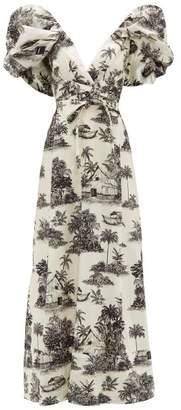 Johanna Ortiz Anhelos De Tierra Printed Cotton Poplin Maxi Dress - Womens - White Black