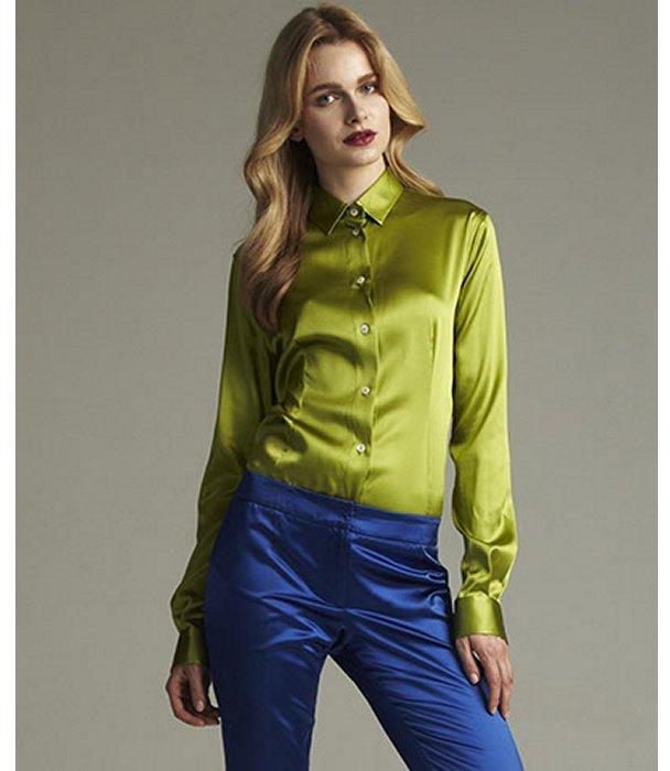 Dolce & Gabbana spring green stretch silk sateen button front blouse