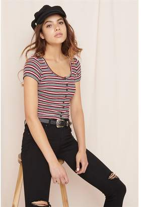 Garage Button Front Ribbed Tee