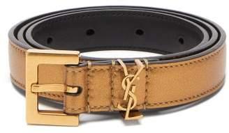 Saint Laurent Metallic Logo Plaque Leather Belt - Womens - Gold