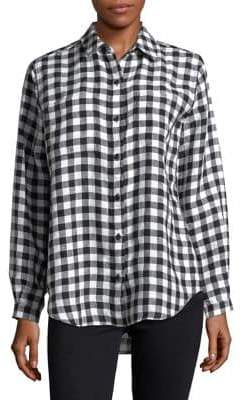 Lord & Taylor Petite Checkered Linen Button-Down Shirt