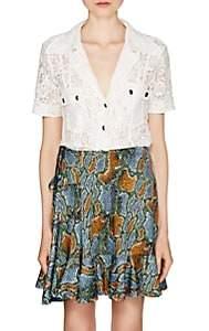 Chloé Women's Cotton-Blend Lace Short-Sleeve Blouse-White