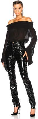 Saint Laurent Washed Silk Georgette Off Shoulder Blouse