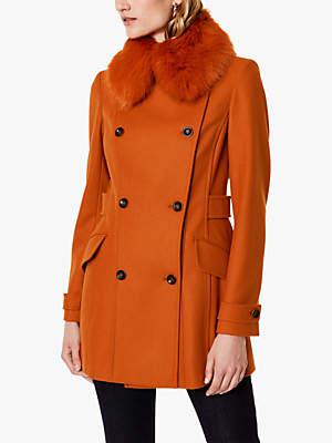 Karen Millen Faux Fur Collar Tailored Riding Coat, Burnt Orange