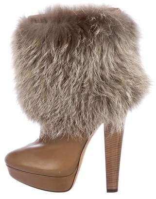 Jimmy Choo Fur-Trimmed Platform Boots