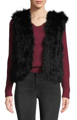 Club Monaco Violet Marabou Feather Vest
