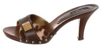Dolce & Gabbana Ponyhair Wooden Sandals