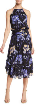 Ramy Brook Eboni Floral Silk Flounce Midi Dress