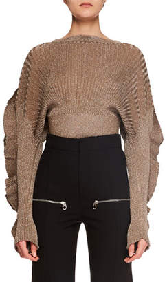 Chloé Ruffle-Sleeve Metallic-Ribbed Short Sweater