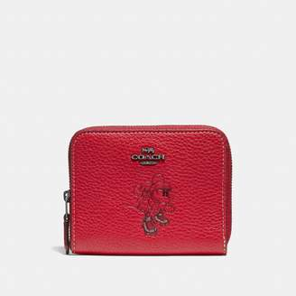 Coach Boxed Minnie Mouse Small Zip Around Wallet With Motif