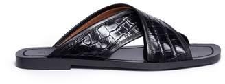 Alumnae 'X-Slide' croc embossed leather sandals