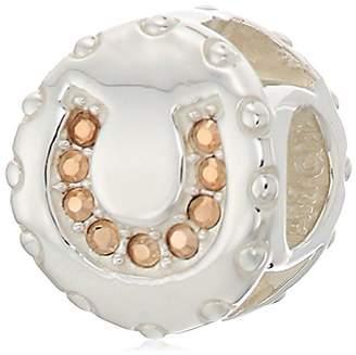 Swarovski Chamilia lucky horseshoe - rose gold crystal charm