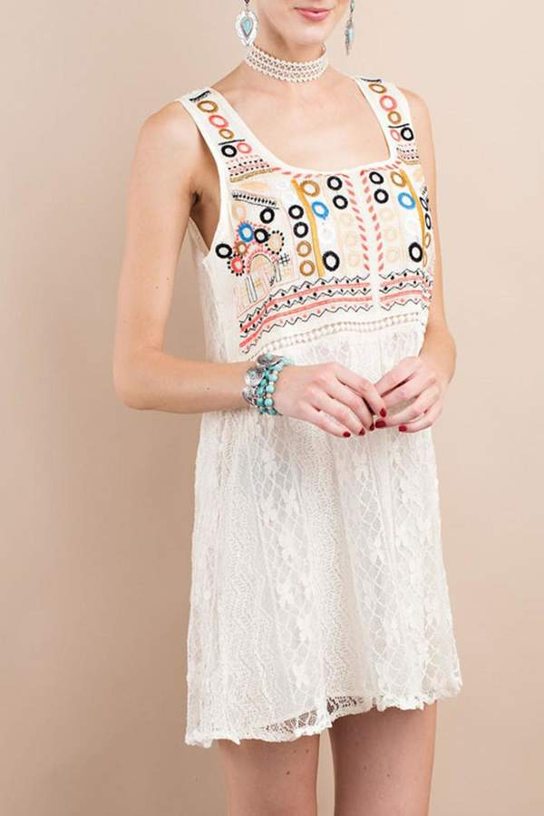 easel Dotted Lace Dress