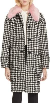 Kate Spade faux fur trim houndstooth coat