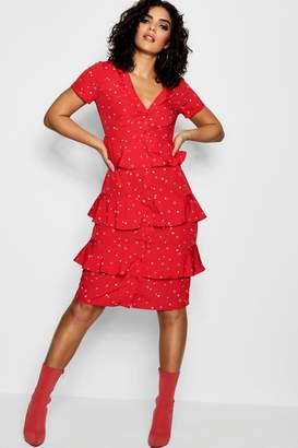 boohoo Star Printed Tierred Shirt Dress