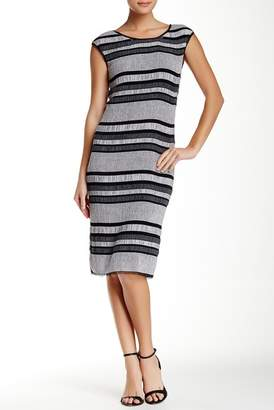 Max Studio Cap Sleeve Pucker Striped Dress