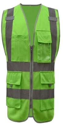 Gogo GOGO 8 Pockets High Visibility Zipper Front Safety Vest With Reflective Strips, Meets ANSI Standards-Green-XXL