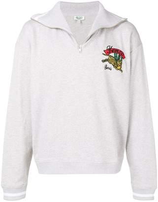 Kenzo embroidered Tiger logo half-zip sweater