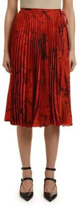 Valentino Plisse Crepe de Chine Over-Dyed Flower-Print Skirt
