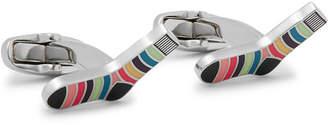 Paul Smith Striped Sock Silver-Tone And Enamel Cufflinks