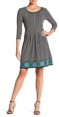 Max Studio 3/4 Sleeve Release Pleat Flare Dress